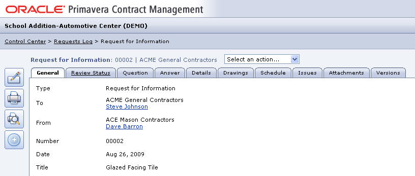 Contract Management v13 record view